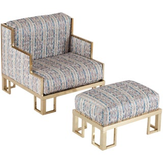 Willy Rizzo Lounge Chair and Ottoman with Brass Frame
