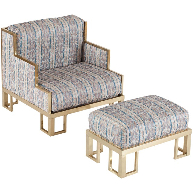 Willy Rizzo Lounge Chair and Ottoman with Brass Frame For Sale