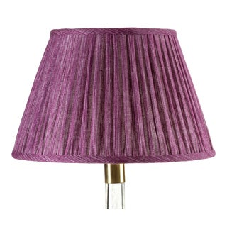Fermoie Gathered Linen Lampshade in Back to the Fuchsia, 16 Inch For Sale