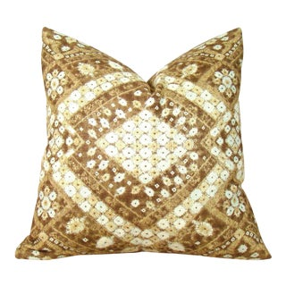 African Geometric Print Linen Pillow Cover For Sale