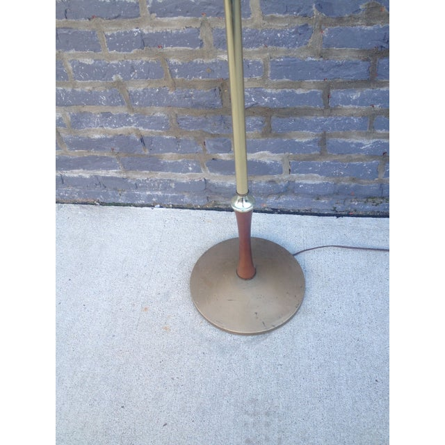 Mid Century Brass Floor Lamp w/Wood Accent - Image 4 of 7