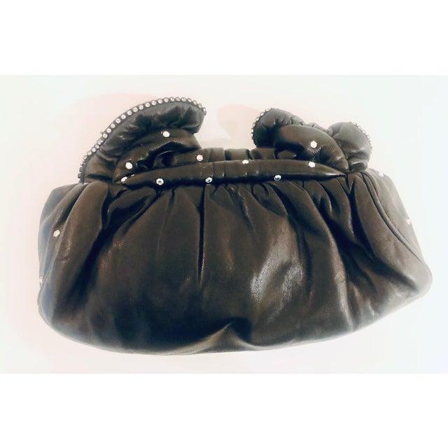 1980s Crystal Embeliished Ruched Calfskin Clutch For Sale - Image 4 of 8
