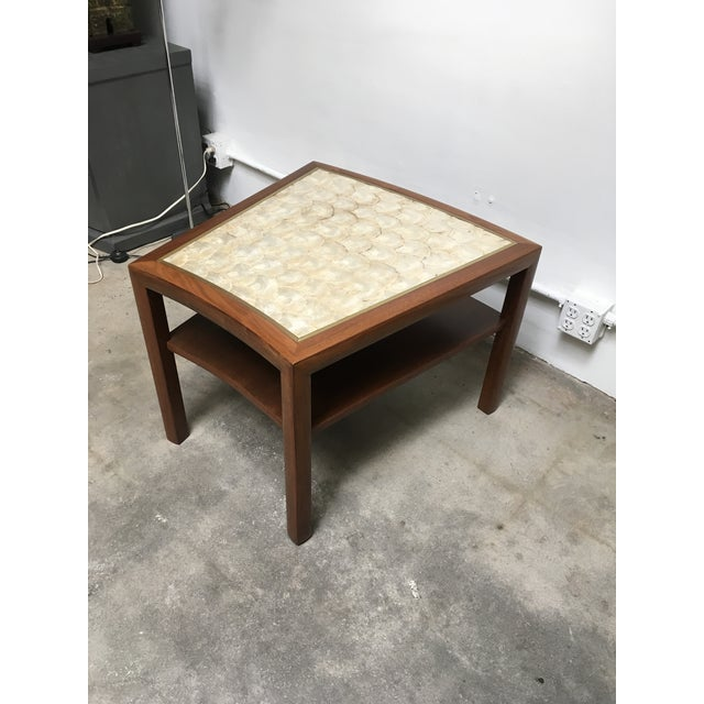 1950s Mid Century Modern Capiz Shell & Brass Top Side Table For Sale - Image 9 of 10