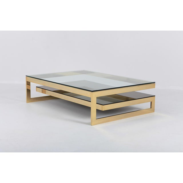 1970s Belgo Chrome Golden G Coffee Table Extra Large For Sale - Image 5 of 12