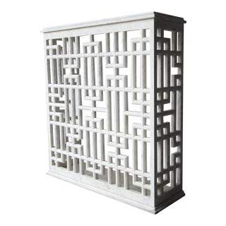 Carrara Marble Fretwork Entry Console Table For Sale