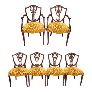 Drexel Wallace Nutting Solid Mahogany Shield Back Dining Chairs - Set of 6 For Sale