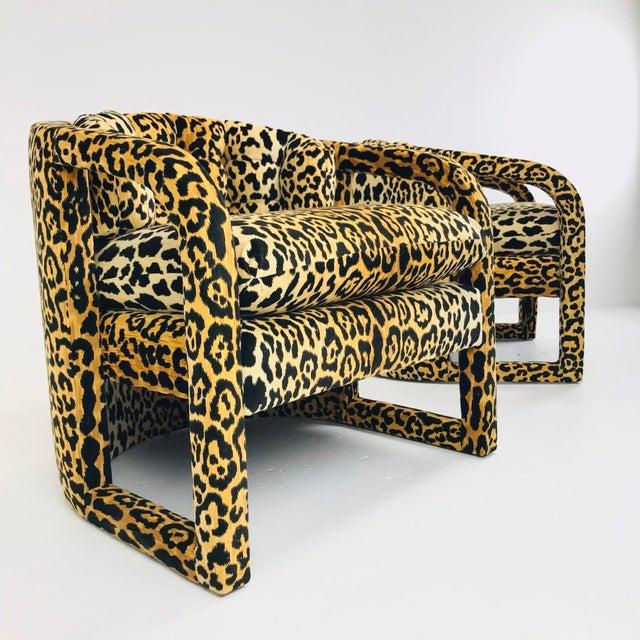 Milo Baughman Pair of Custom Barrel-Back Armchairs in Leopard Velvet For Sale - Image 4 of 12