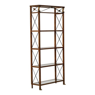 Spanish Neoclassical Style Brass and Glass Etagere