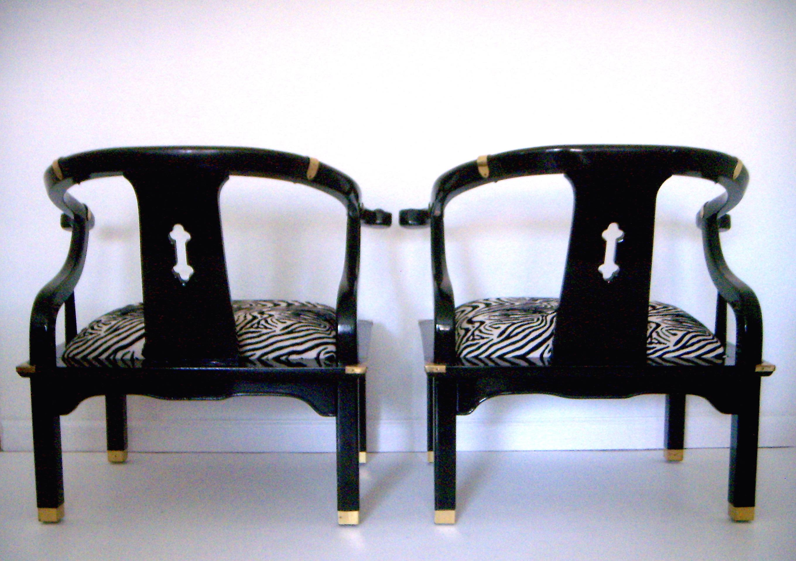 zebra arm chair. Black Lacquer Ming Style Zebra Arm Chairs - A Pair Image 4 Of 6 Chair