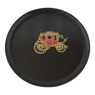 "Couroc ""Wells Fargo Stagecoach"" Round Serving Tray For Sale"
