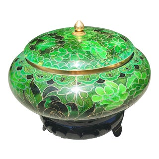 Chinoiserie Cloisonné Green Covered Urn on Stand For Sale