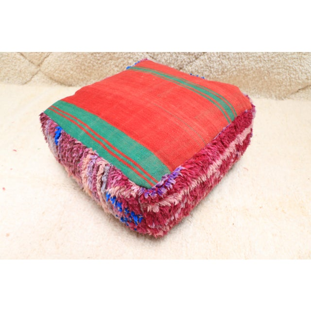 Vintage Moroccan Wool Pouf Cover For Sale - Image 10 of 13
