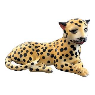 Vintage Ceramic Reclining Leopard Statue