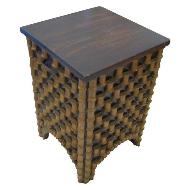 Folk Art Spool Table With Hidden Storage - Image 1 of 6