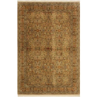 Tabriz Pak-Persian Jerrie Tan/Lt. Brown Wool Rug - 4'0 X 6'6 For Sale