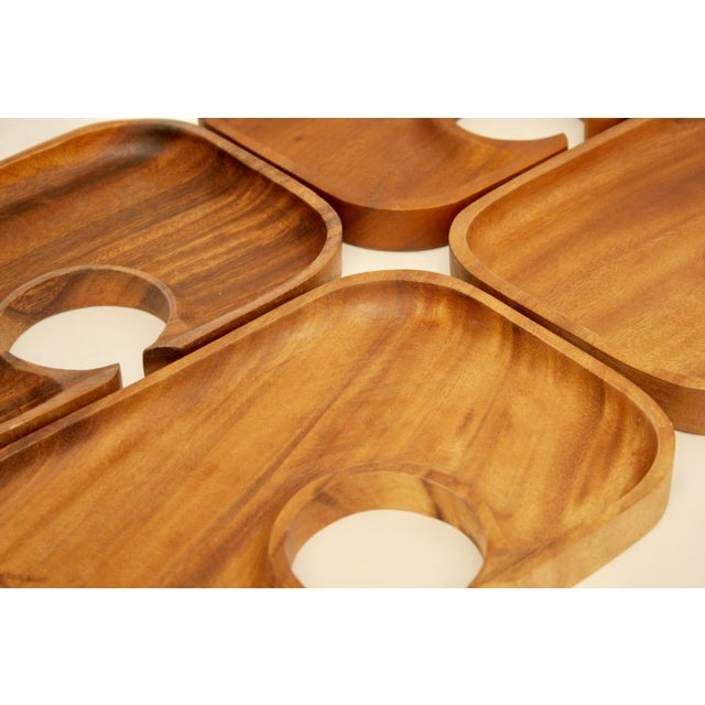 Acacia wood canap trays set of 4 chairish for Canape trays