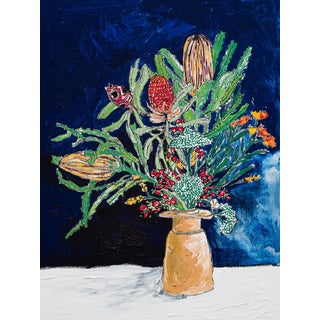 Australian Widflower Bouquet in Pottery Vase on Navy Original Still Life Painting For Sale