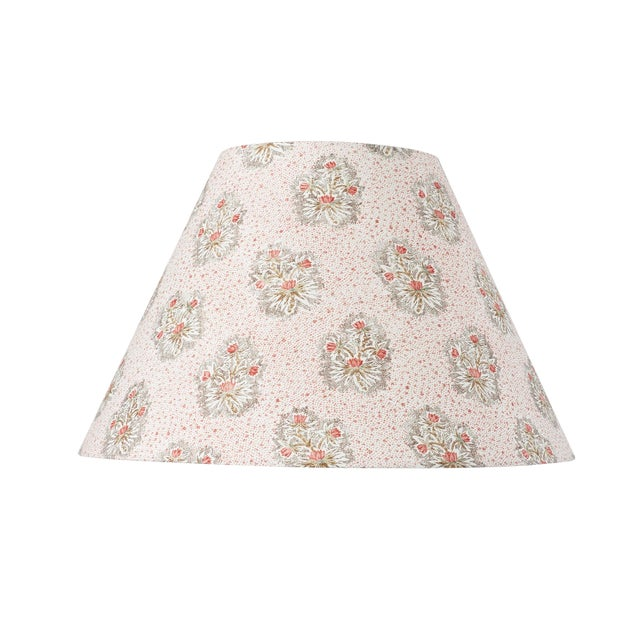 Schumacher Cassis Floral Linen Lampshade in Rouge For Sale