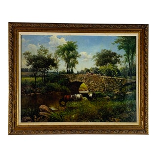 19th Century English Landscape With Cattle For Sale