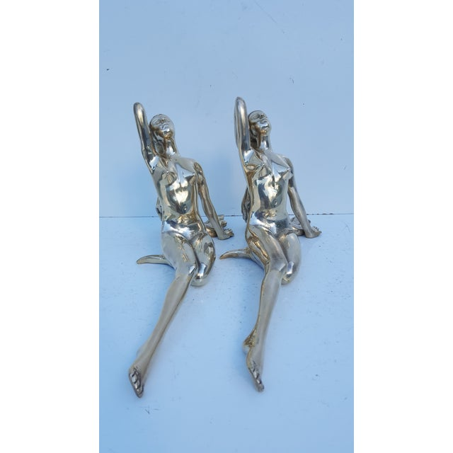 Vintage Solid Brass Nude Women Sculptures - A Pair - Image 4 of 8