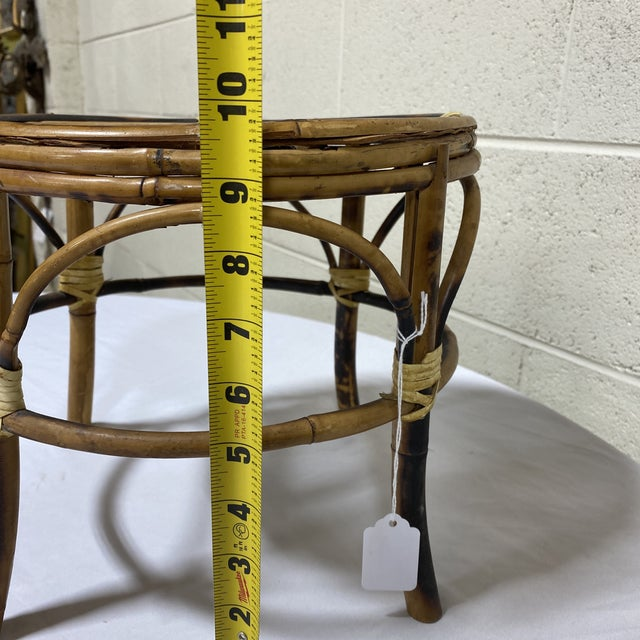 Small Vintage Burnt Bamboo Stool For Sale - Image 10 of 11