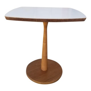 Small Mid-Century Modern Side Table With White Laminate Top For Sale