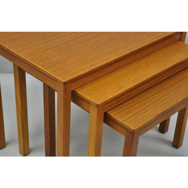 1960s 1960s Mid Century Modern Bent Silberg Teak Nesting Stacking Side Tables - Set of 3 For Sale - Image 5 of 10