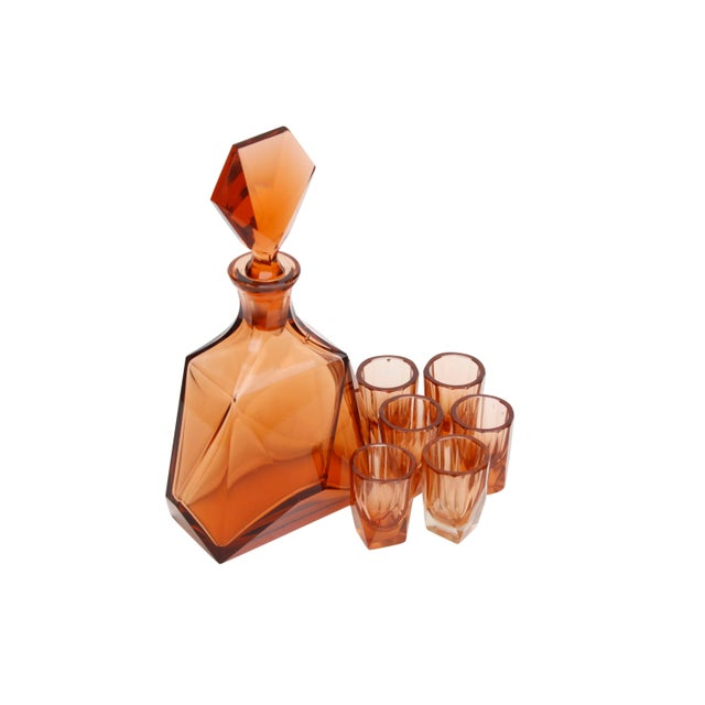 Art Deco Art Deco Decanter With Six Matching Glasses For Sale - Image 3 of 7