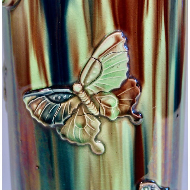 Early 20th Century Pottery Vase with Butterfly Motif and Drip Flambe Glaze For Sale In New York - Image 6 of 13