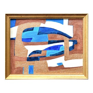 Contemporary Mid-Century Cubist Style Abstract Painting in Blue and Gold For Sale