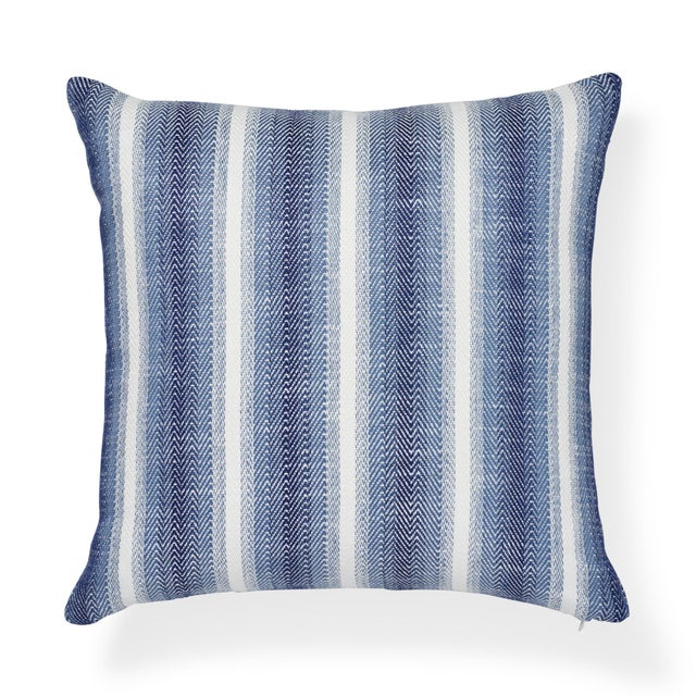 "Contemporary Schumacher Colada Stripe Blue Indoor/Outdoor Two-Sided Pillow - 18ʺW × 18""H For Sale In New York - Image 6 of 6"
