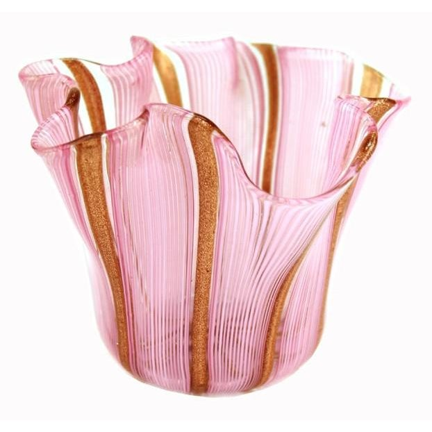 Murano Glass Handkerchief Vase in Pink & Gold For Sale - Image 9 of 9