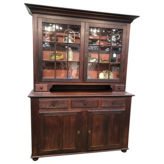 Stepback Two-Piece Glass Door Flat Wall Cupboard Cherry Circa 1810 American For Sale