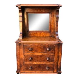 Antique American Burl Wood Jewelry Box W Vanity Mirror For Sale