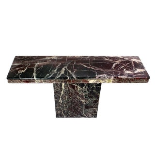 Vintage Italian Modernist Black & Red Marble Entry Hall Console For Sale