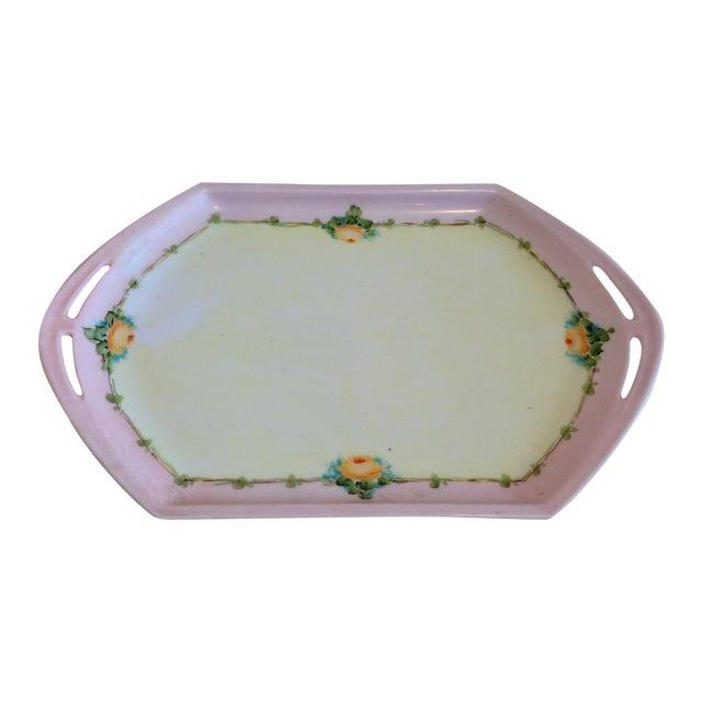 Small Porcelain Tray Hand Painted by M Z Austria For Sale