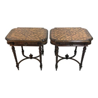 Vintage Maitland Smith Mahogany Side Tables—a Pair For Sale