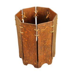 Lakeside Antique Arts & Crafts Oak Waste Basket For Sale