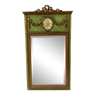 Gilded and Painted French Trumeau Mirror For Sale