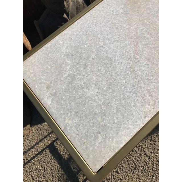 White Marble Fontana Coffee Table Brass: White Marble & Brass Coffee Table