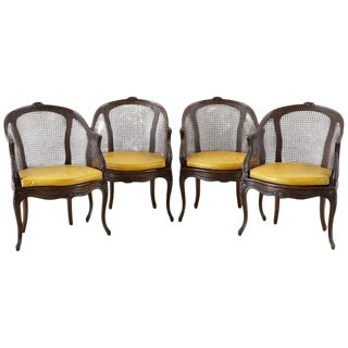 Set of Four French Louis XV Style Caned Barrel Chairs For Sale