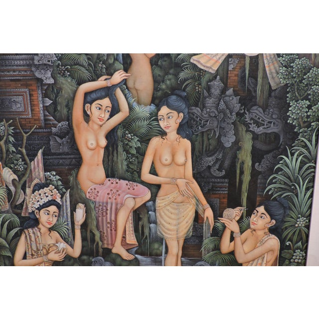 Asian Balinese Bathing Ladies Painting For Sale - Image 3 of 8