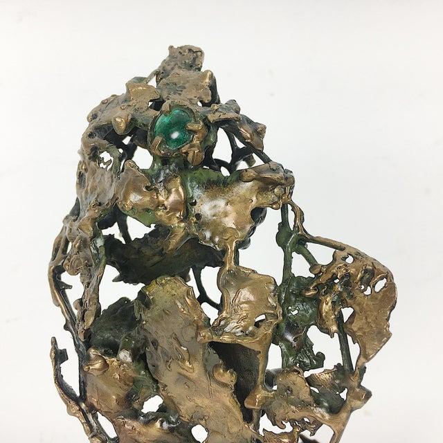 Ben Kupferman Bronze Sculpture With Malachite For Sale - Image 4 of 6