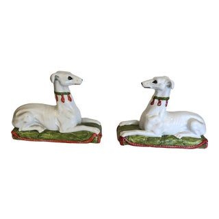 Italian Ceramic Recument Whippets Greyhounds Sculptures -A Pair For Sale