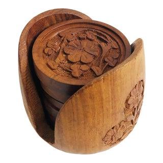 Vintage Carved Wood Coaster Set - 6 Coasters in Holder For Sale