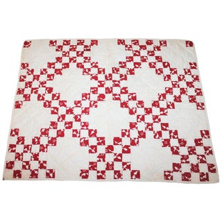 19th Century Postage Stamp Crib Quilt For Sale