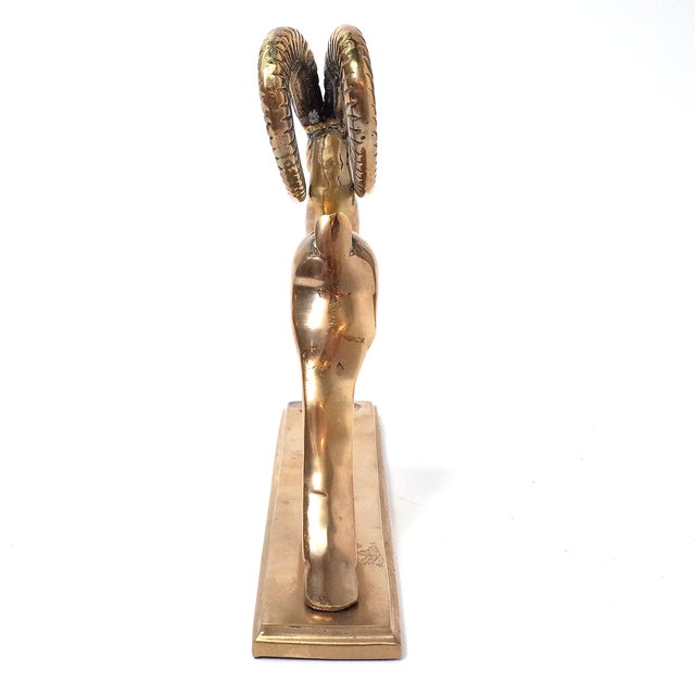 Mid-Century Brass Gazelle Antelope Sculpture For Sale - Image 5 of 5