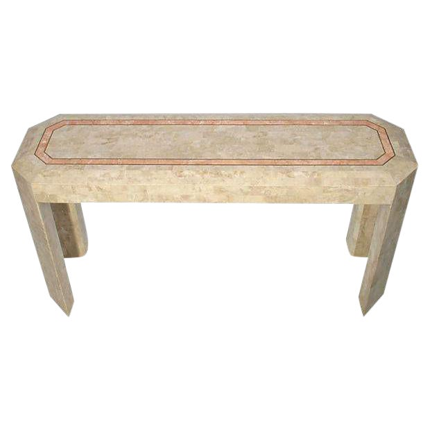 Tessellated Fossil Console Table with Brass Trim For Sale