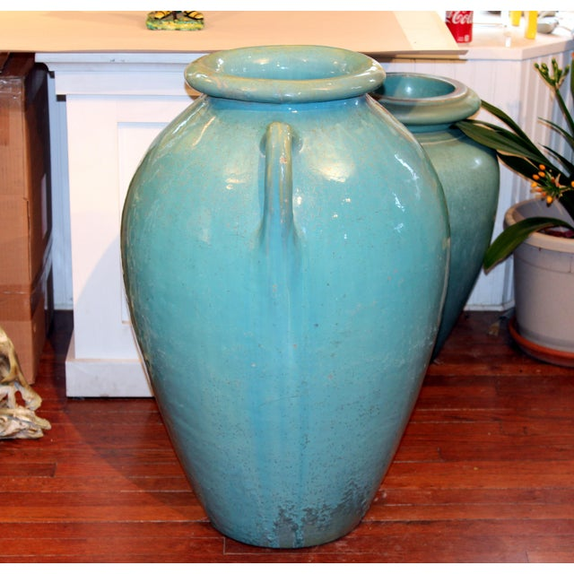 1920s Antique Galloway Terracotta Ceramic Art Deco Pottery Garden Urn For Sale - Image 5 of 7