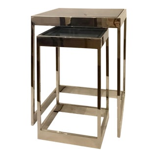 Modern Chrome and Black Glass Nesting Tables Set of Two For Sale